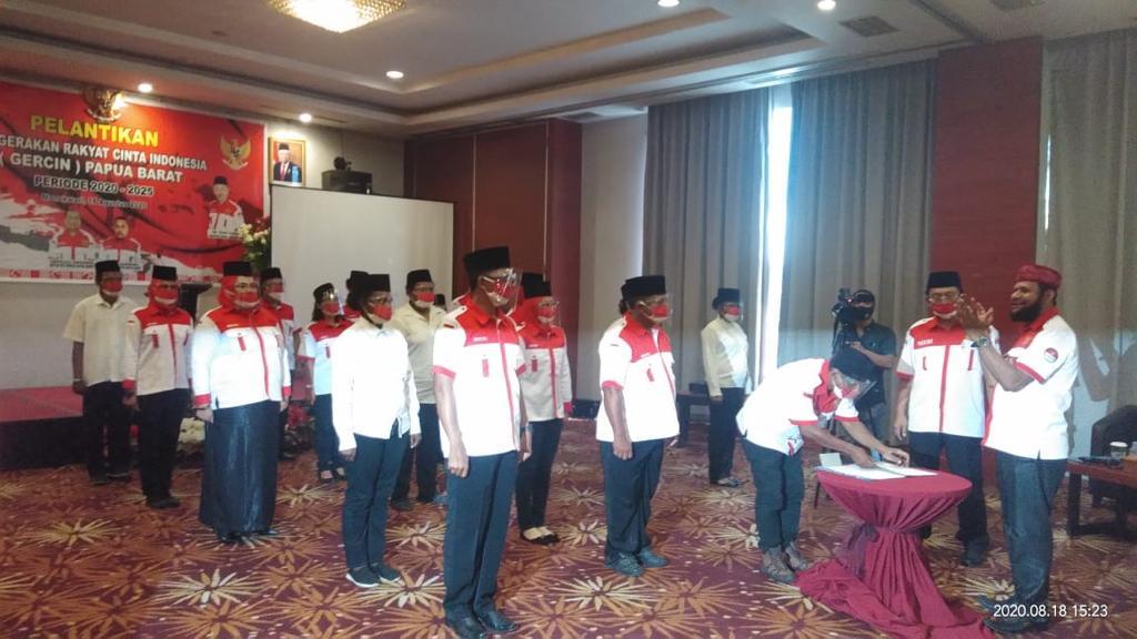 Pelantikan DPD GERCIN Papua Barat Periode 2020-2025